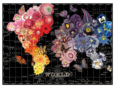 Blumige Weltkarte