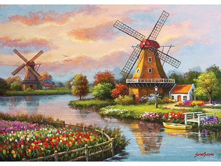 Windmühlen entlang des Flusses