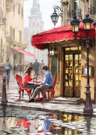 Romantisches Straßencafe