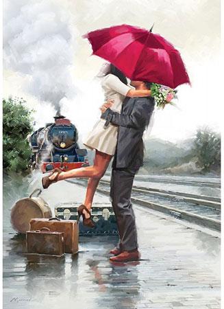 Freudige Ankunft am Bahnsteig