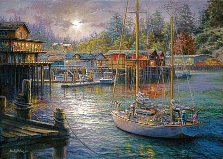 Sonnenuntergang im kleinen Hafen