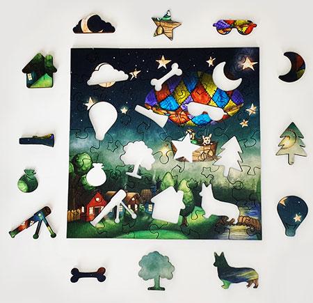 Holzpuzzle - Um die Welt