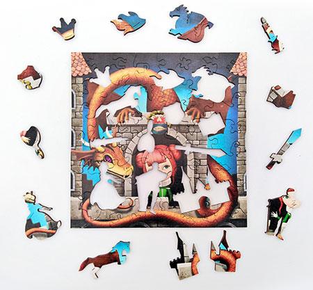 Holzpuzzle - Die Prinzessin und der Drache