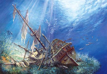 Versunkenes Segelschiff