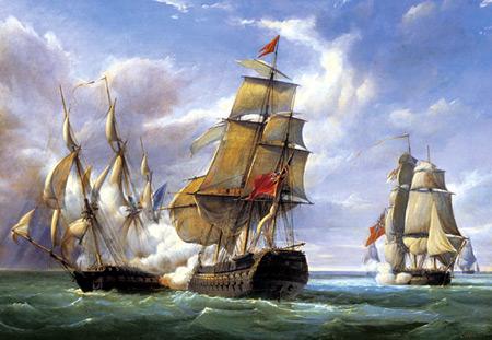 Seeschlacht Frankreich gegen England (P.J.Gilbert)