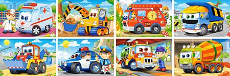 Einsatzfahrzeuge mit lustigen Gesichtern