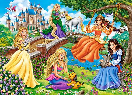 Prinzessinnen spielen im Garten