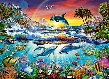 Spielende Delfine im Sonnenuntergang