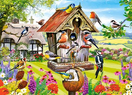 Versammlung am Vogelhaus