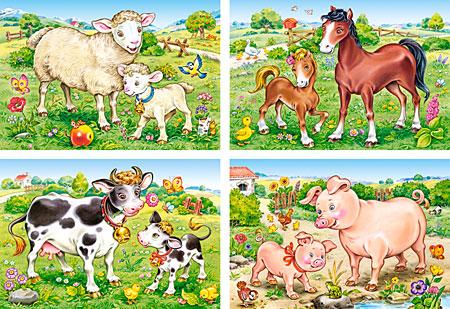 Tiermütter mit ihren Babies