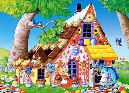 Hänsel und Gretel bauen am Lebkuchenhaus