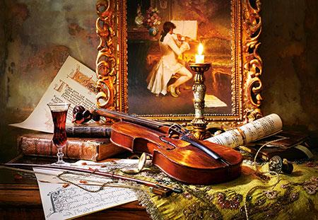Stillleben mit Geige und Porträt