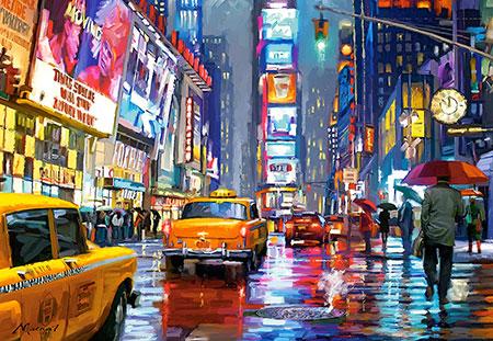 Regenstimmung am Time Square