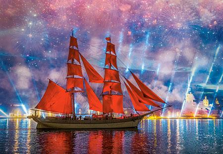 Feuerwerk mit Roter Fregatte