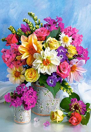 Blumensträuße in den Vasen