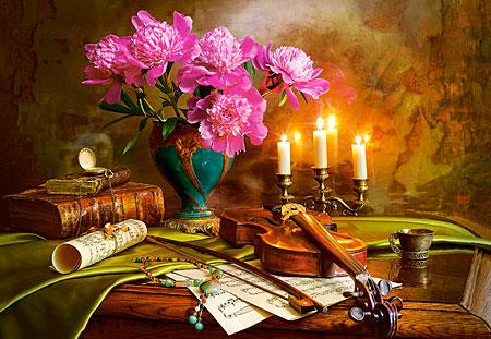 Stillleben mit einer Geige und Blumenvase