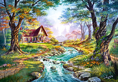 Hütte am Flusslauf