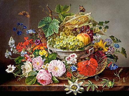 Stillleben aus Blumen und Fruchtkorb