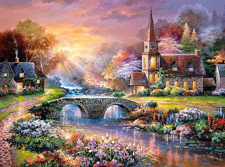 Behagliches Dorf am Flusslauf