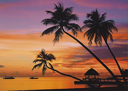 Malediven bei Sonnenuntergang
