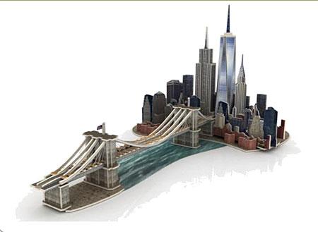 3D Monument aus Holz - Skyline von Manhattan