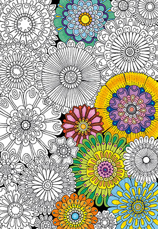 Ausmalpuzzle - Doodle Art - Blüten