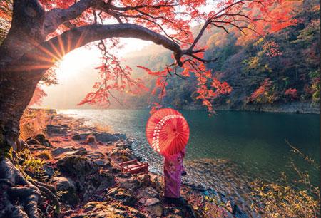 Sonnenuntergang am Katsura Fluss