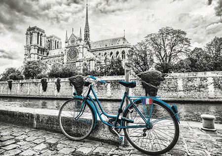 Blaues Fahrrad vor Notre Dame