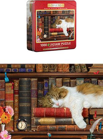 Katze macht ein Nickerchen (in Metaldose)