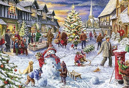 Weiße Weihnacht im Dorf