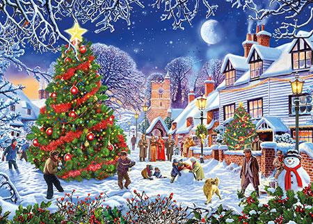 Belebter Weihnachtsbaum im Dorf