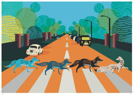 Füchse entlang der Abbey Road