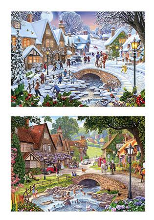 Sommer- und Wintertag im Dorf
