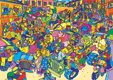 Mitten im Karnevalsumzug