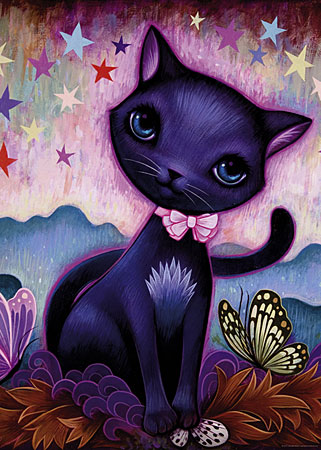 Katze mit rosa Schleife
