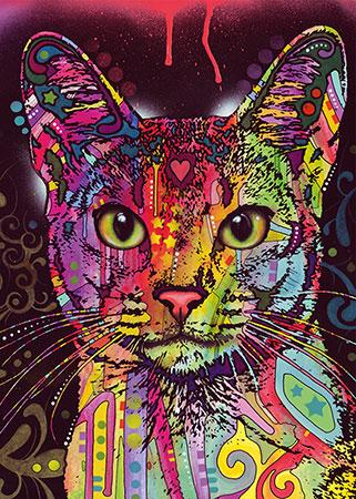 Farbiges Katzenporträt