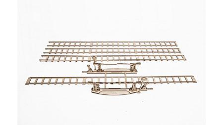 3D Holzpuzzle - Ugears - Schienenset mit Bahnübergang