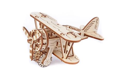 3D Holzpuzzle - Wooden City - Doppeldecker-Flugzeug