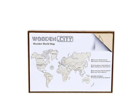 3D Holzpuzzle - Wooden City - Weltkarte (mittel)