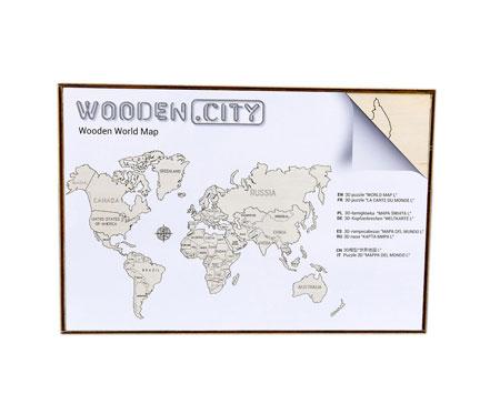3D Holzpuzzle - Wooden City - Weltkarte (groß)