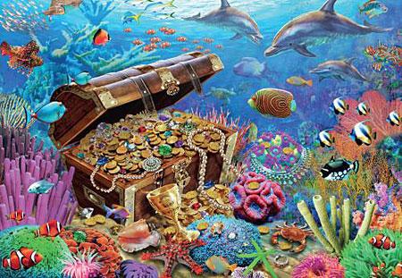 Delfine bewachen den Unterwasserschatz