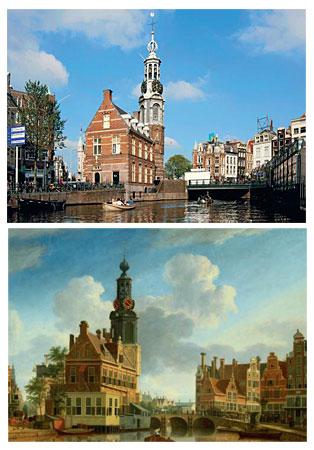 Münzturm von Amsterdam - früher und heute