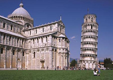 Blick auf den Schiefen Turm von Pisa