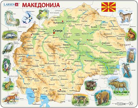 Physische Karte - Mazedonien mit Tieren
