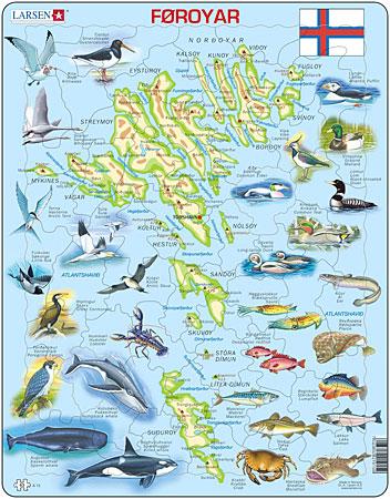 Physische Karte - Faröer Inseln mit Tieren