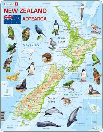 Larsen Physische Karte Neuseeland Mit Tieren
