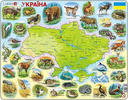 Physische Karte - Ukraine mit Tieren