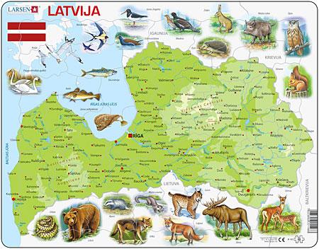 Physische Karte - Lettland mit Tieren