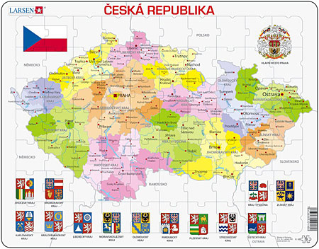 Karte Tschechien.Larsen Politische Karte Tschechien