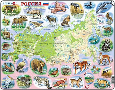 Physische Karte - Russland mit Tieren